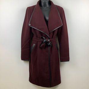 Vero Moda Long Sleeve Tie Waist Coat in Burgundy Red